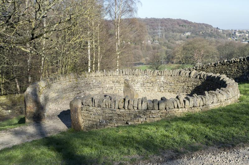 Sheep Fold, example of dry stone walling. Sheep Fold, example of dry stoe walling in the Shibden Hall Park near Halifax, West Yorkshire stock images