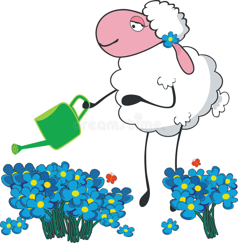 Download Sheep in a garden stock vector. Image of equipment, meadow - 5287411