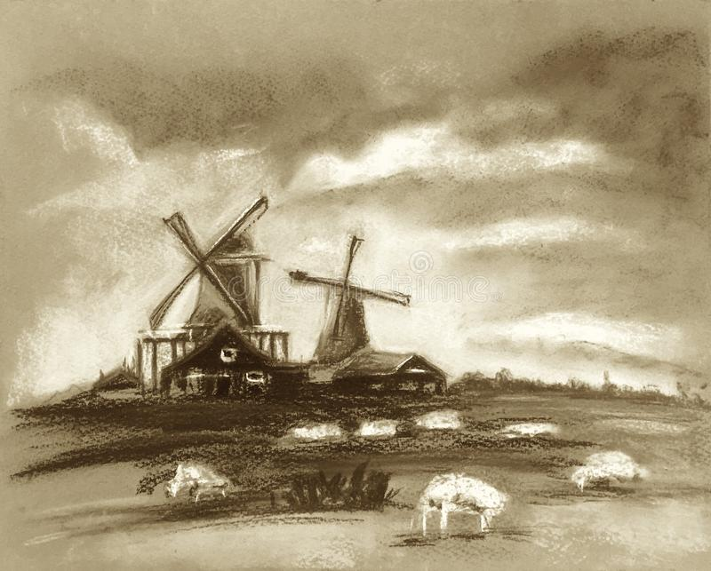 Sheep grazing near the mill. Beautiful clouds in the sky. Rustic Dutch landscape. Netherlands village. Milk or sheep farm. vector illustration