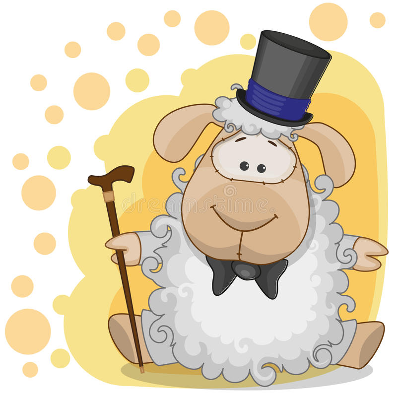 Sheep in a hat vector illustration