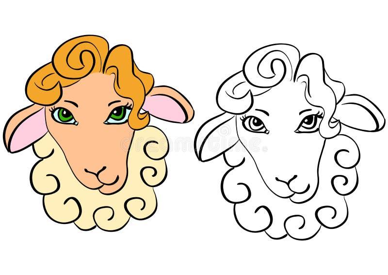 Sheep head - contour stock images