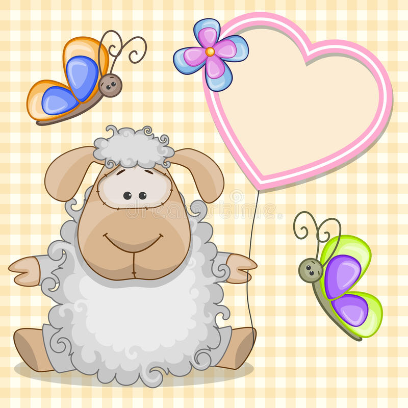 Sheep with heart frame royalty free illustration