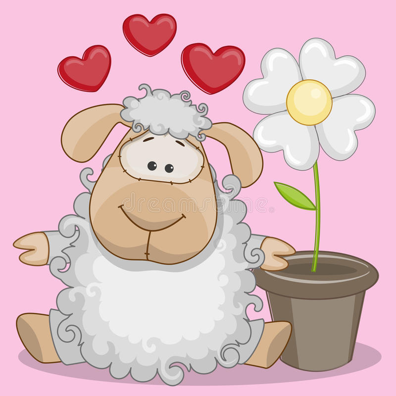 Sheep with hearts vector illustration