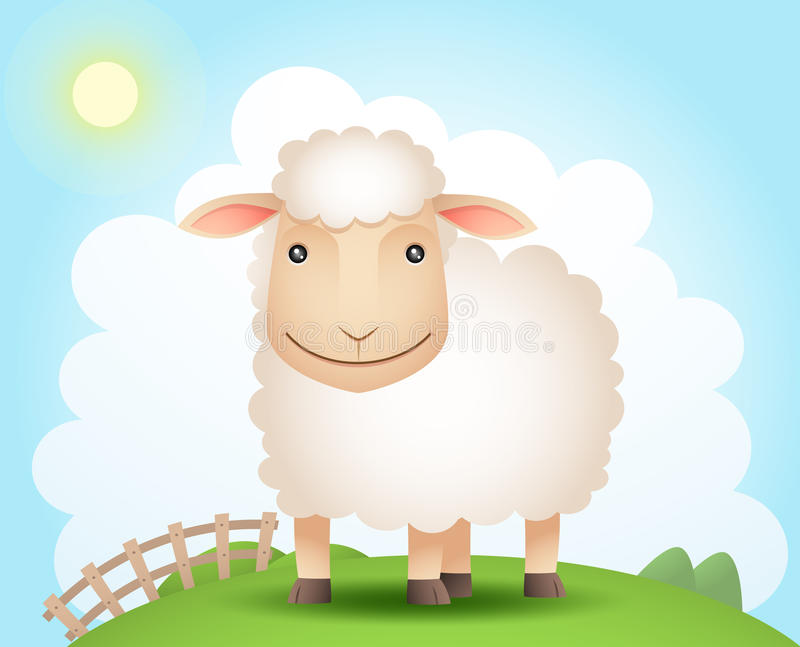Sheep On The Hill Stock Photo