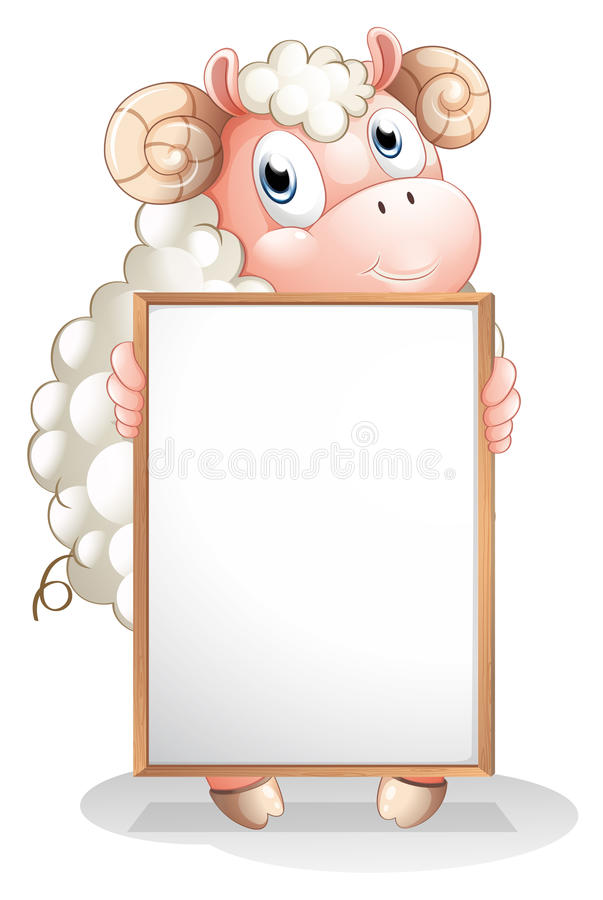 A sheep holding an empty bulletin board. Illustration of a sheep holding an empty bulletin board on a white background stock illustration