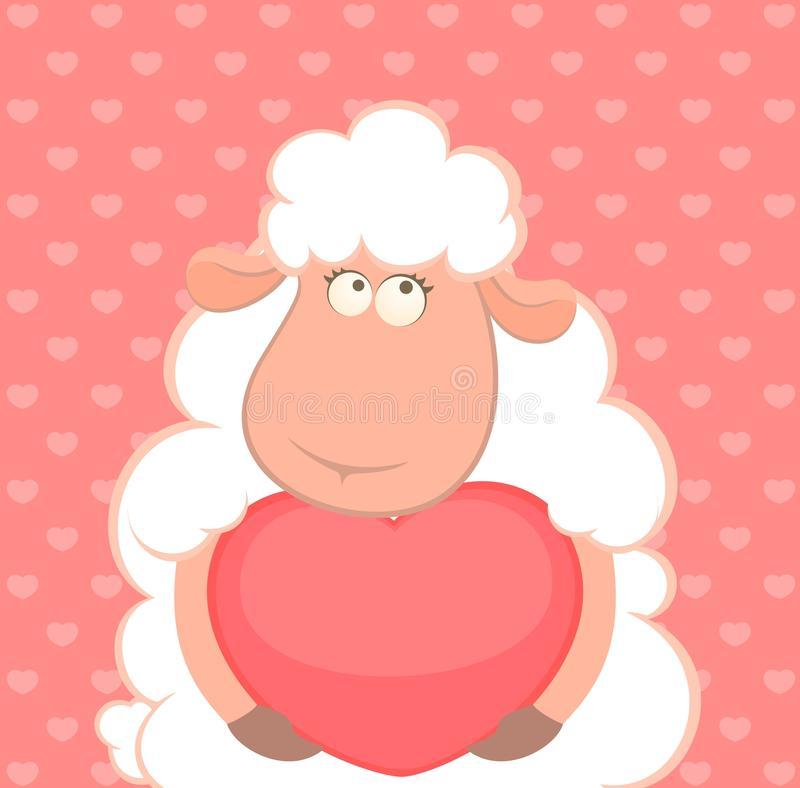 Sheep Holds A Heart Royalty Free Stock Photo