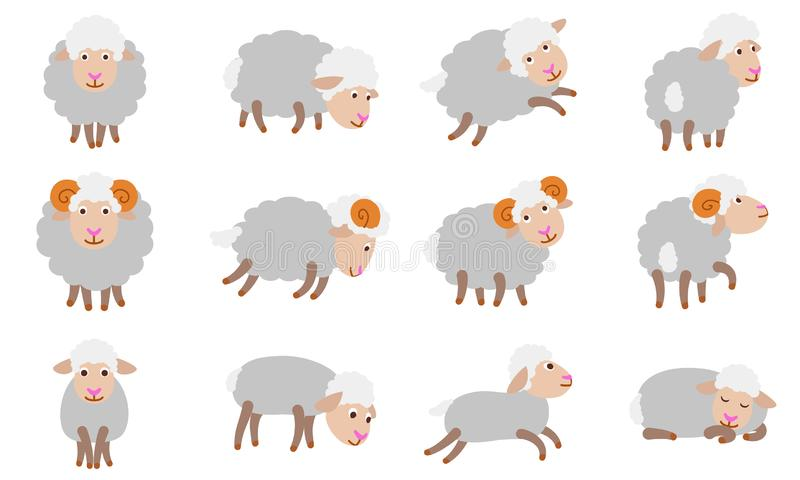 Sheep icons set, flat style stock illustration