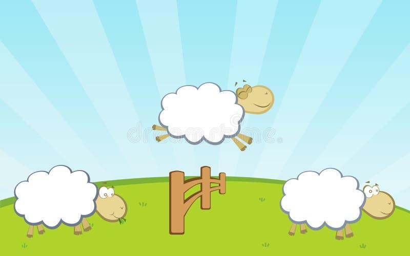 Sheep jumping fence royalty free illustration