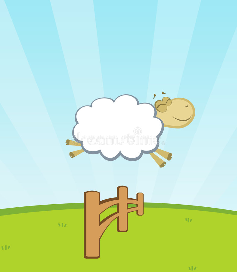 Download Sheep Jumping Fence Stock Illustration Of Happy