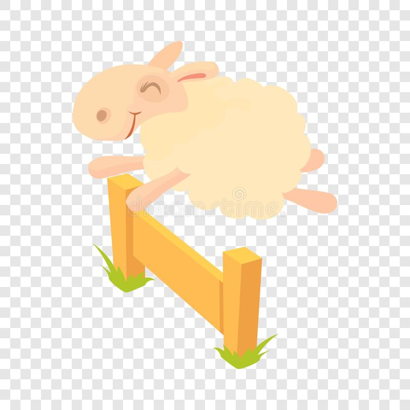 Sheep jumping over barrier icon, cartoon style. Sheep jumping over barrier icon. Cartoon illustration of sheep jumping over barrier vector icon for web vector illustration