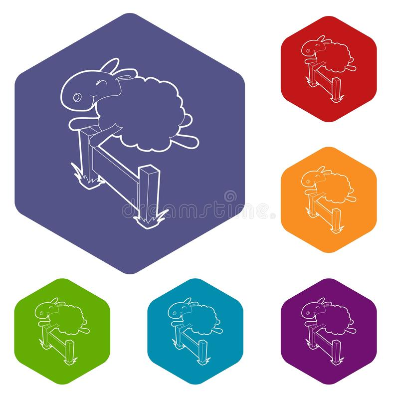 Sheep jumping over barrier icon, outline style. Sheep jumping over the barrier icon. Outline illustration of sheep vector icon for web design royalty free illustration