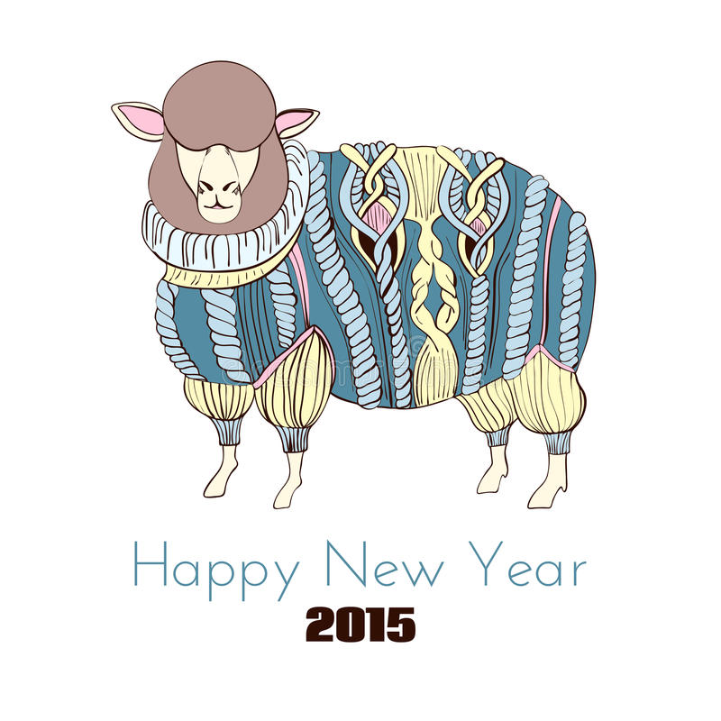 Sheep in knitted sweater. Color hand drawn illustration stock illustration