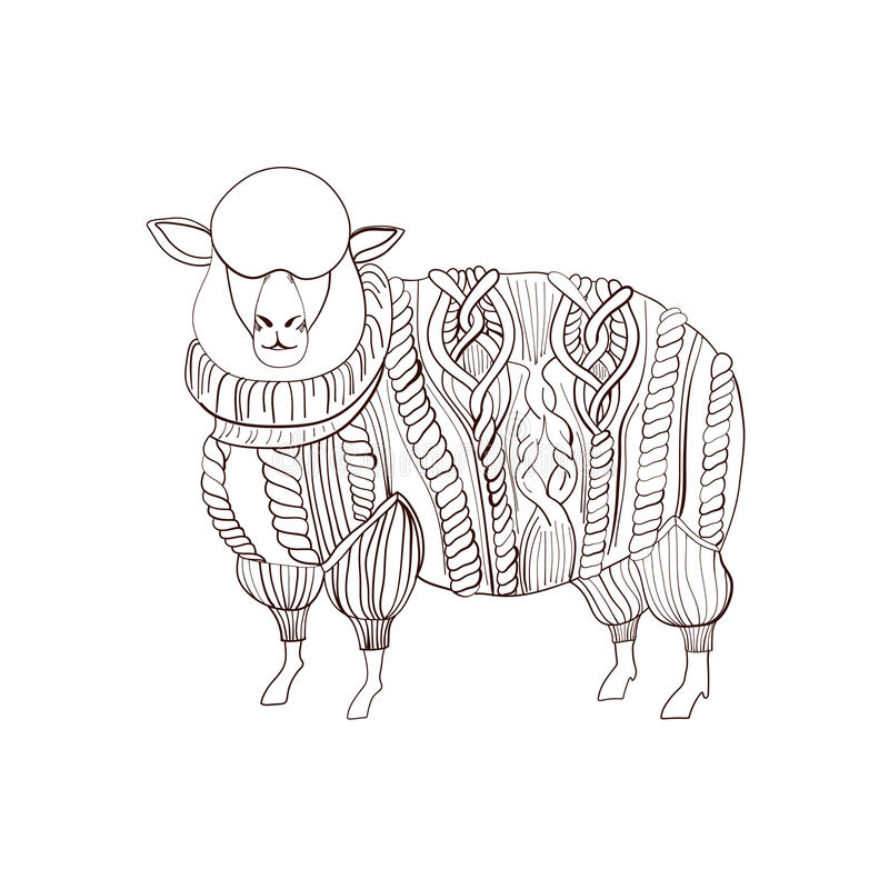 Sheep in knitted sweater. Hand drawn illustration stock illustration