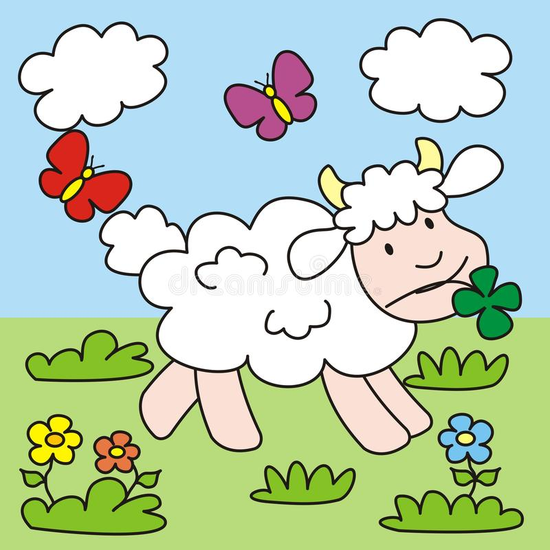Download Sheep stock vector. Illustration of childrens, meadow - 32055012