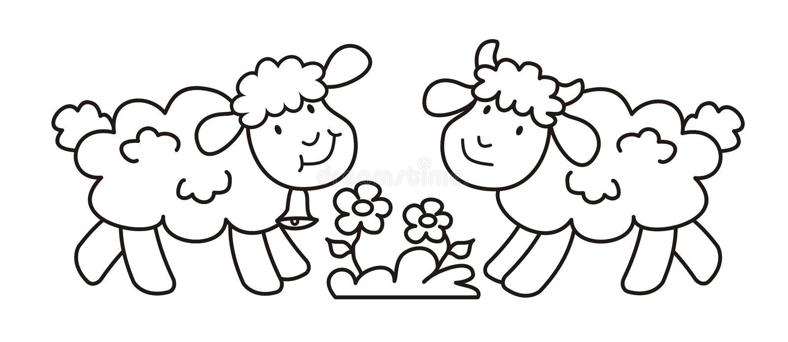 sheep lamb cute picture vector icon two animals flower blue background coloring book children page