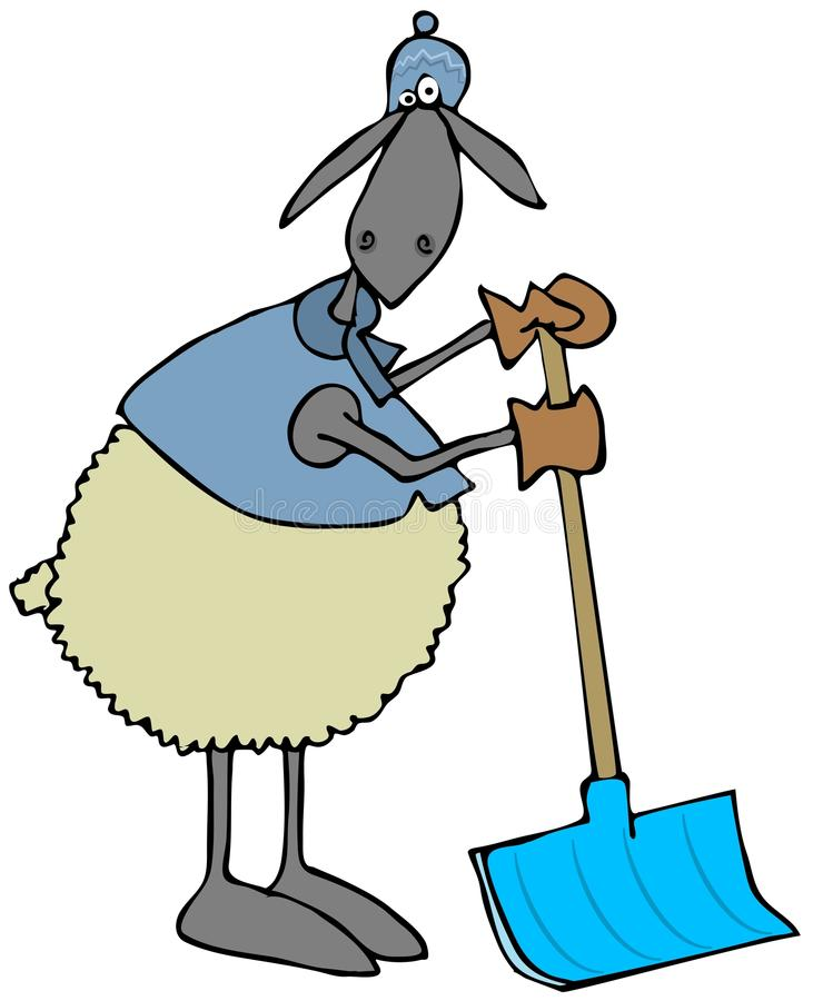 Sheep leaning on a snow shovel stock illustration