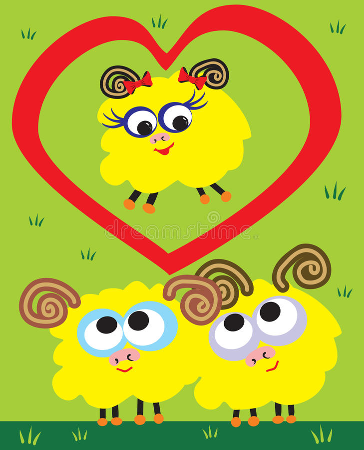 Download Sheep love stock vector. Illustration of nature, holiday - 12713882