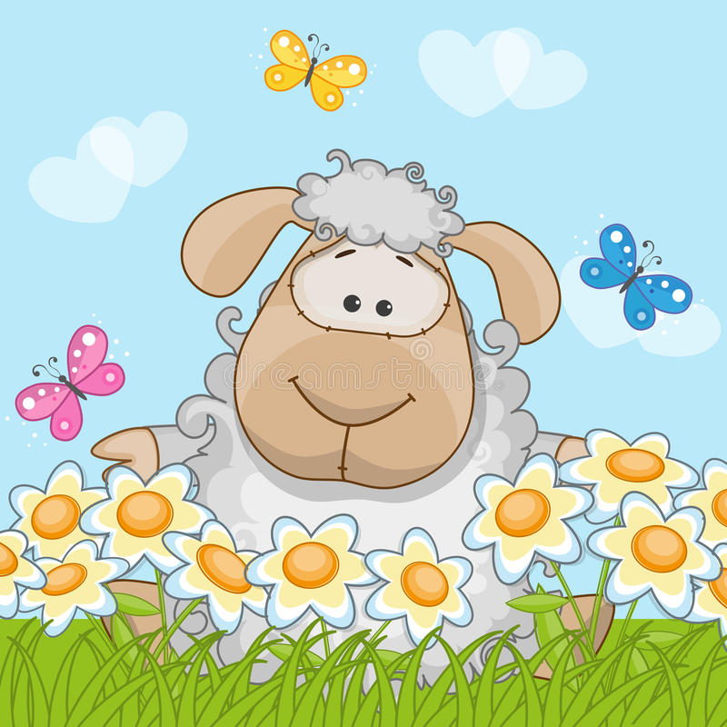 Sheep on a meadow stock illustration