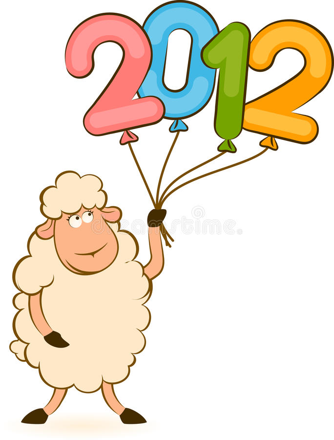 Sheep With Numbers 2012 Year Royalty Free Stock Photo