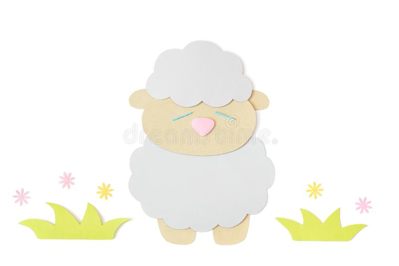 Sheep paper cut on white background stock image
