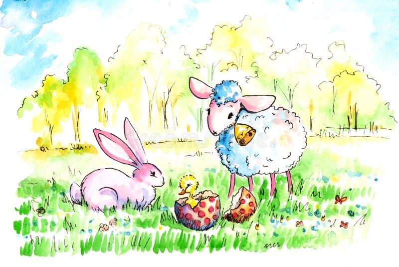 Sheep and rabbit royalty free stock photo