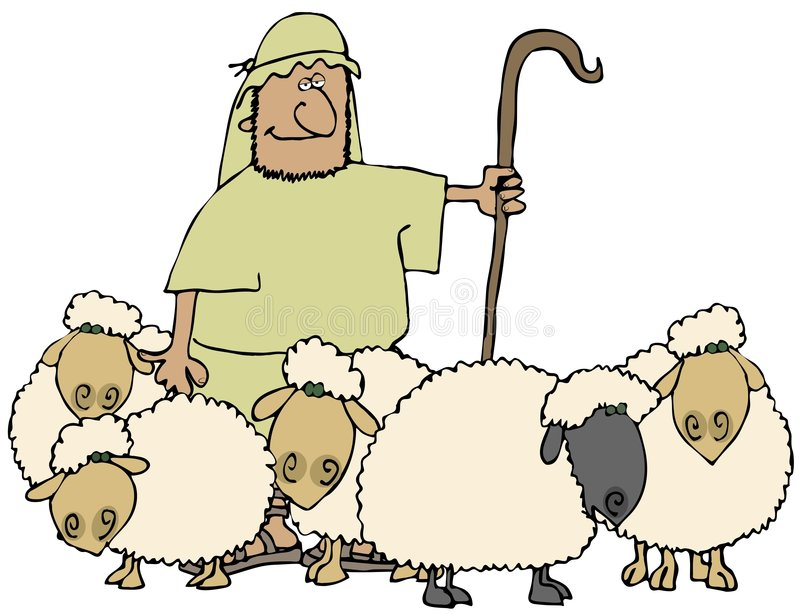 Sheep And Shepherd. This illustration depicts a shepherd with his herd of sheep vector illustration
