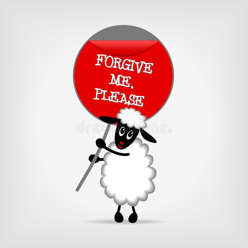 Sheep with sign Forgive me please stock illustration