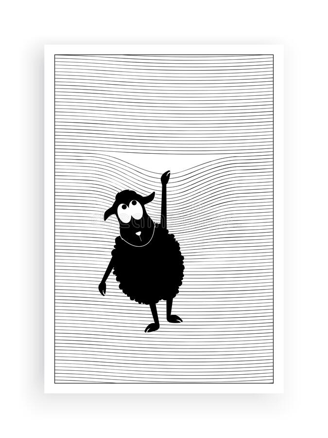 Free Sheep Silhouette In Front Of A Window, Vector. Falling Lamb. Window Blinds Illustration. Fun Cartoon Character Royalty Free Stock Image - 182373966
