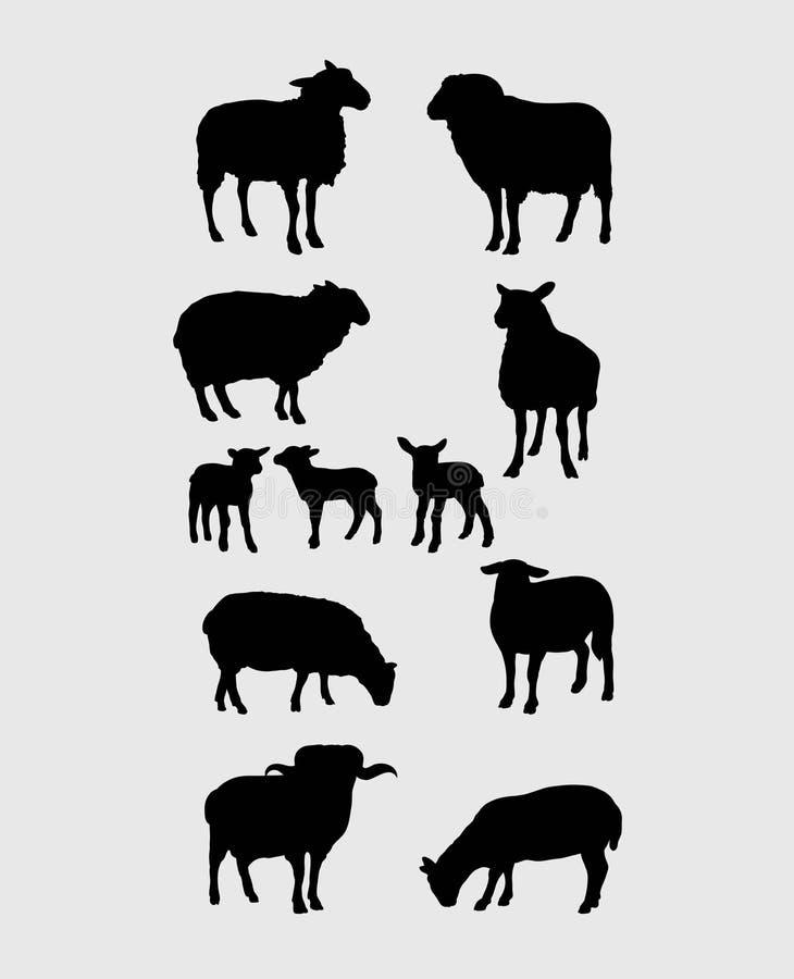 Sheep Silhouettes Set. Art vector design stock illustration