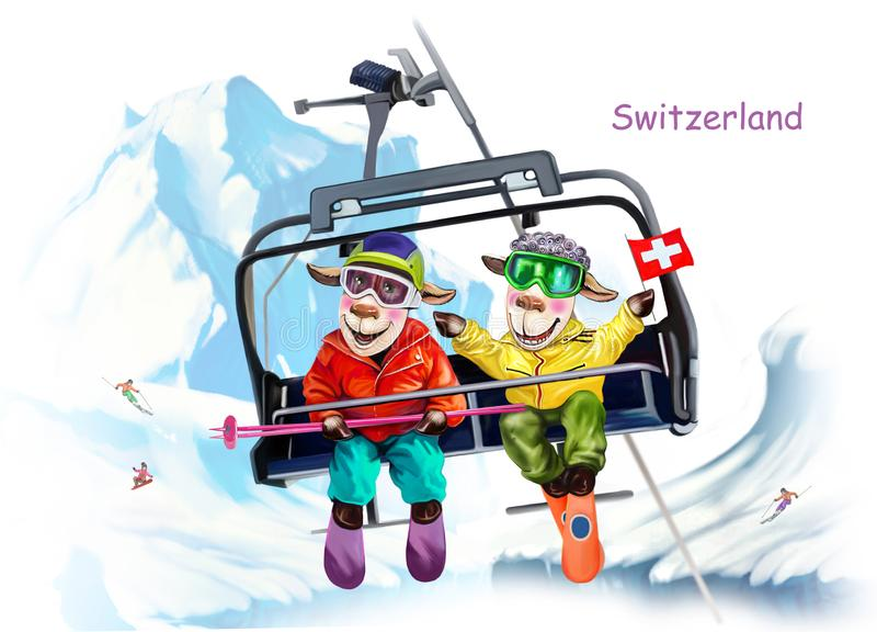 Sheep in the ski resort of Switzerland royalty free illustration