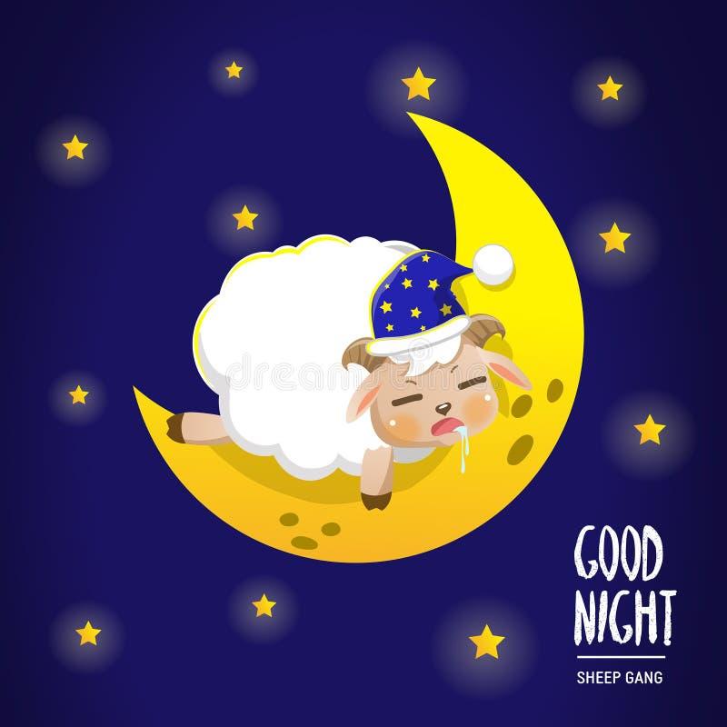 Sheep sleep on the moon royalty free illustration