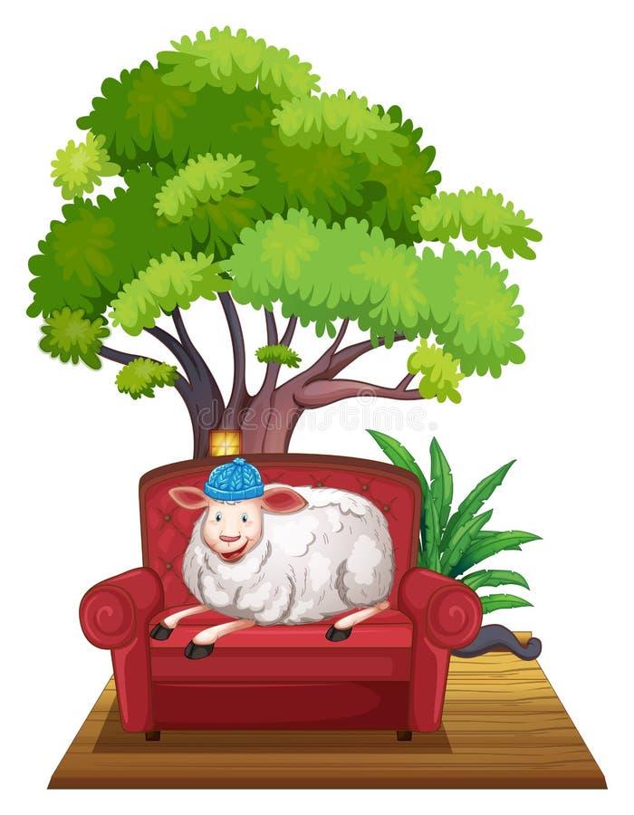 Sheep on sofa. Illustration of a sheep sitting on a sofa vector illustration