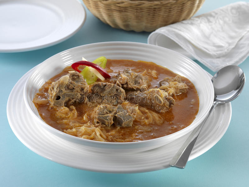 Sheep soup with cabbage stock photo