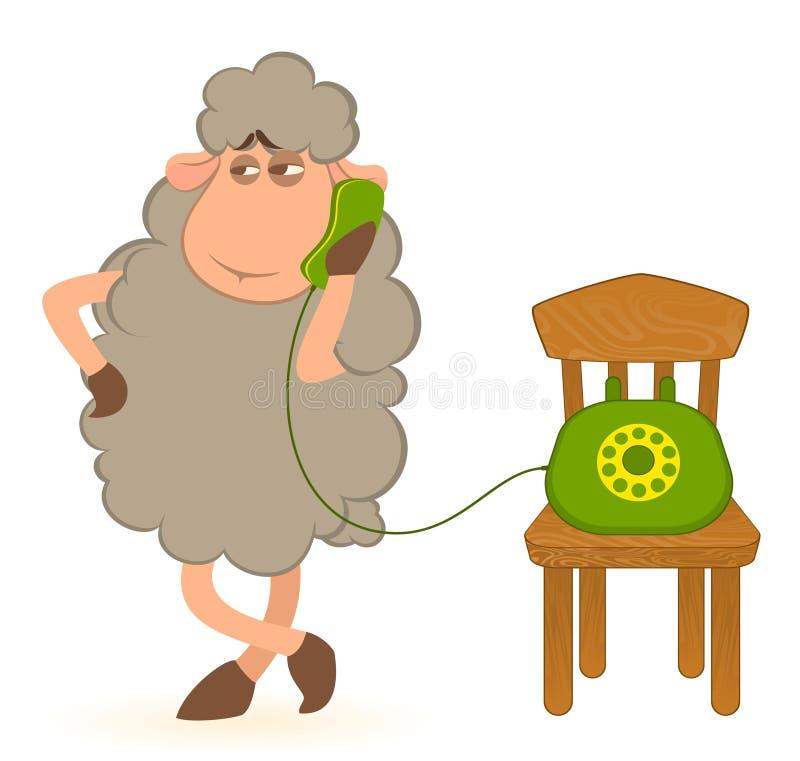Sheep speaks by phone. Illustration of cartoon sheep speaks by phone royalty free illustration