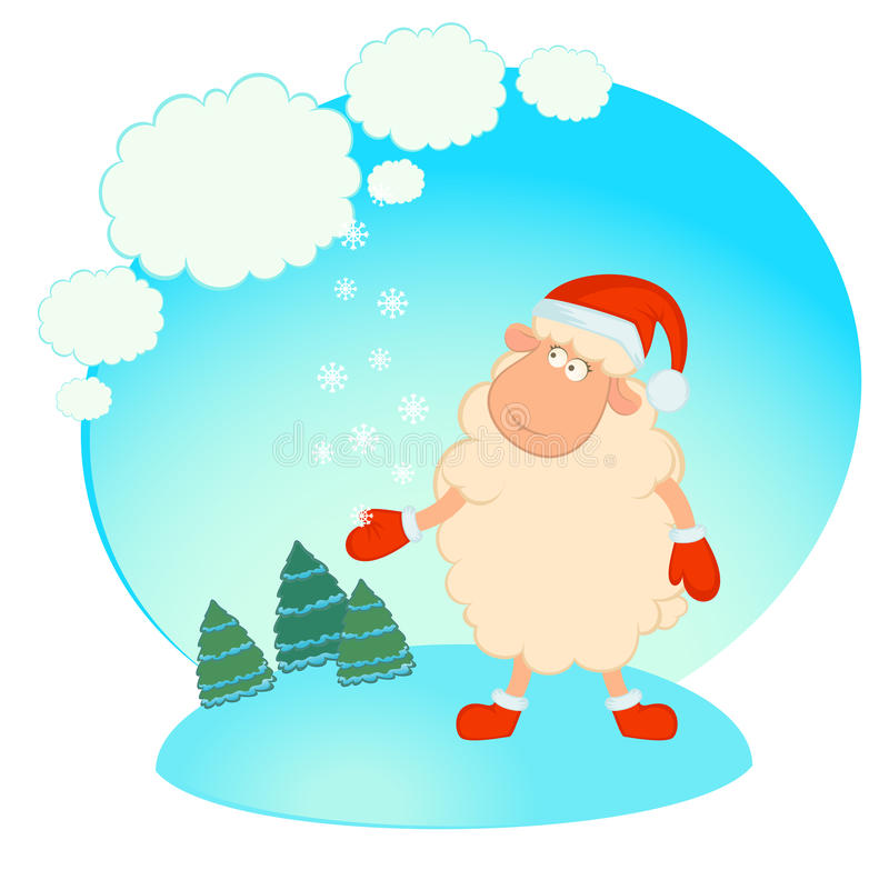 Download Sheep In The Suit Of Santa Claus. Stock Vector - Image: 16554464