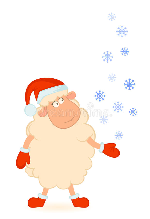 Sheep In The Suit Of Santa Claus Royalty Free Stock Photo
