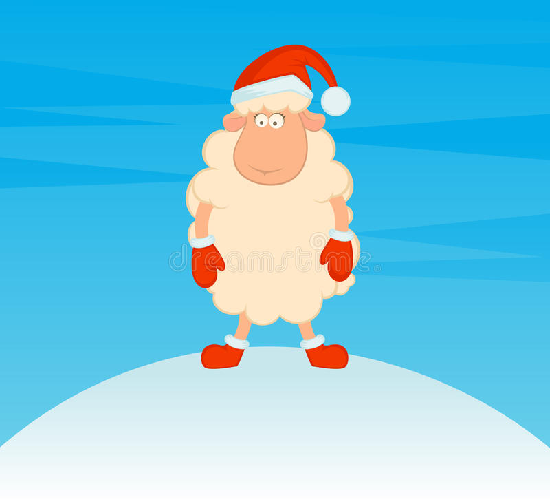 Download Sheep In The Suit Of Santa Claus Stock Vector - Image: 16774839