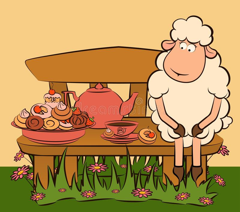 Download Sheep With Sweet Cakes And Tea Stock Photo - Image: 21033290