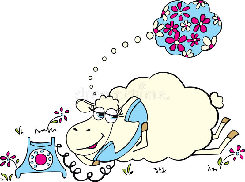 Download Sheep with telephone stock vector. Image of cute, clip - 24089930