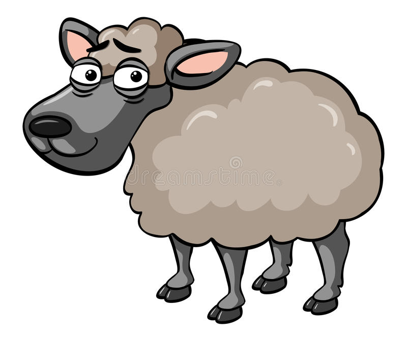 Sheep with tired face. Illustration stock illustration
