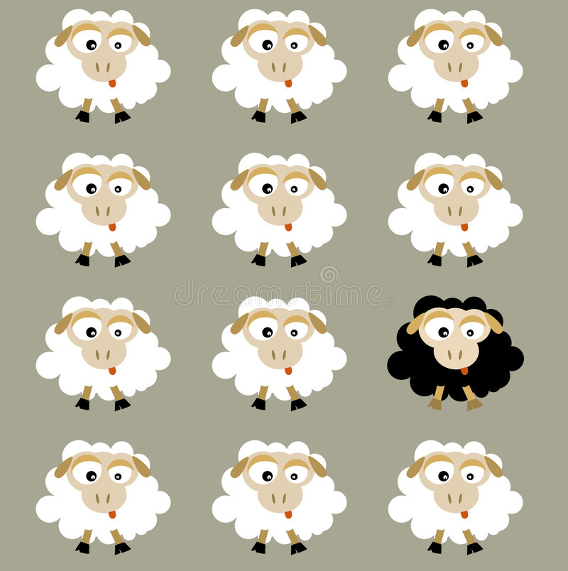 Sheep (vector). Black and white flock sheep stock illustration