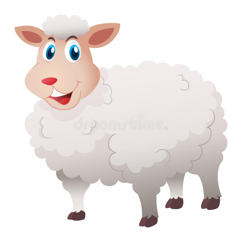 Sheep with white fur. Illustration stock illustration