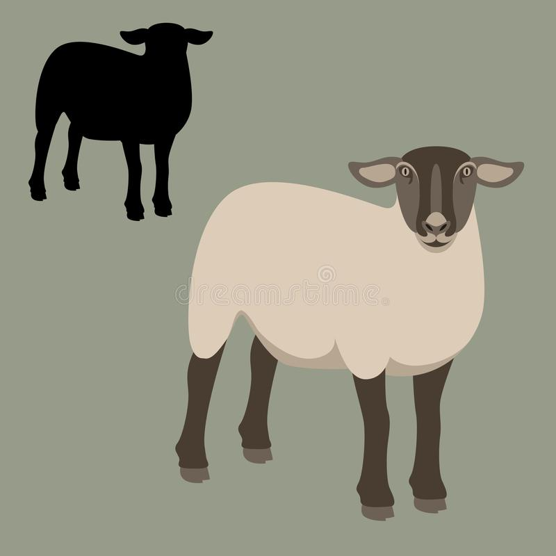 Free Sheep Young Flat Style Vector Illustration Profile View Silhouette Stock Photo - 104617920