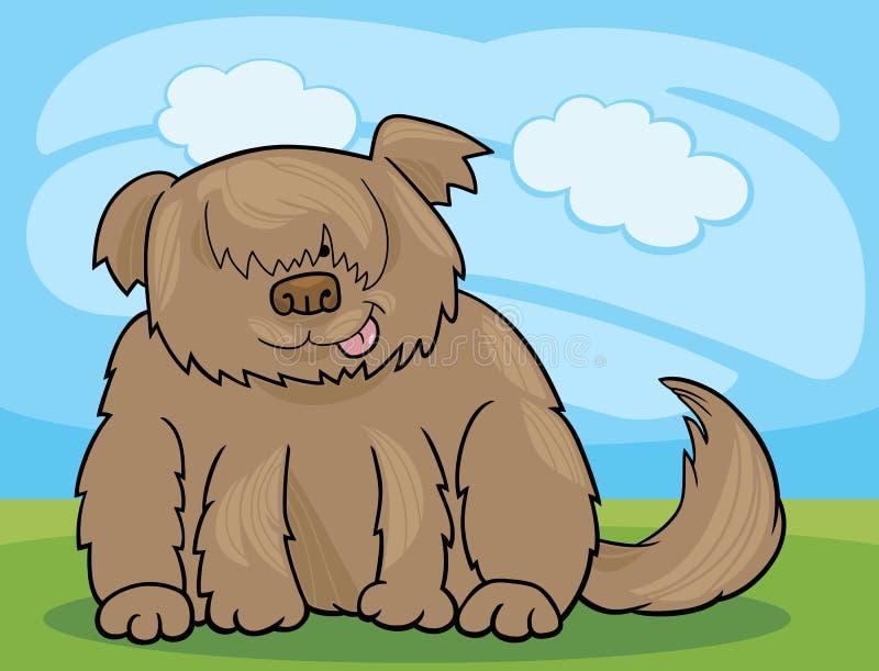 Sheepdog kostrzewiastego psa kreskówki ilustracja ilustracja wektor