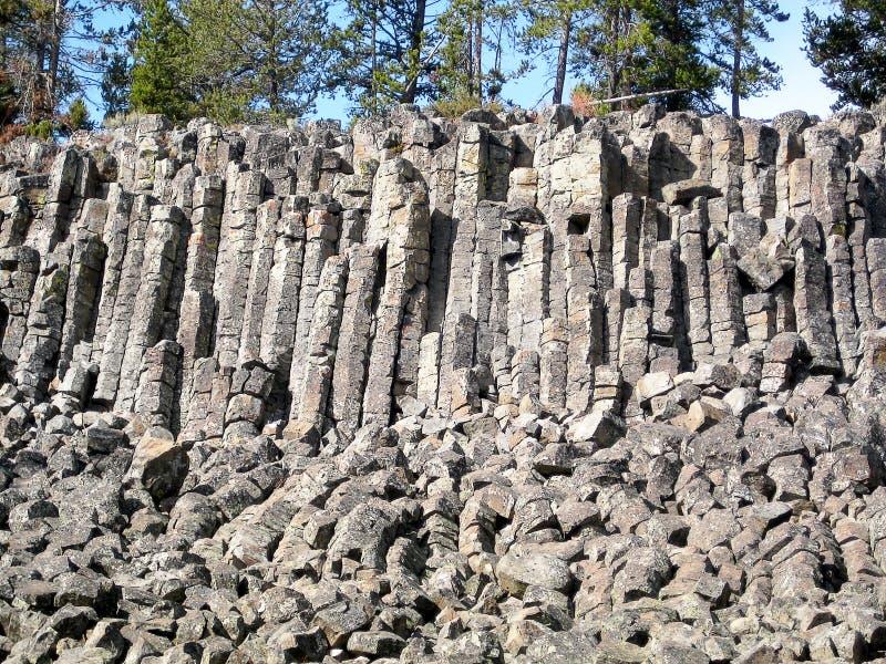 Sheepeater klippor i den Yellowstone nationalparken (Wyoming, USA) arkivbild