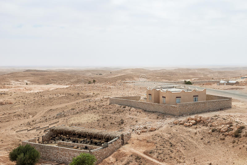 Sheepfold and a building in the desert with a horizon line. Sheepfold and a building in the middle of an arid desert with a horizon line royalty free stock photo