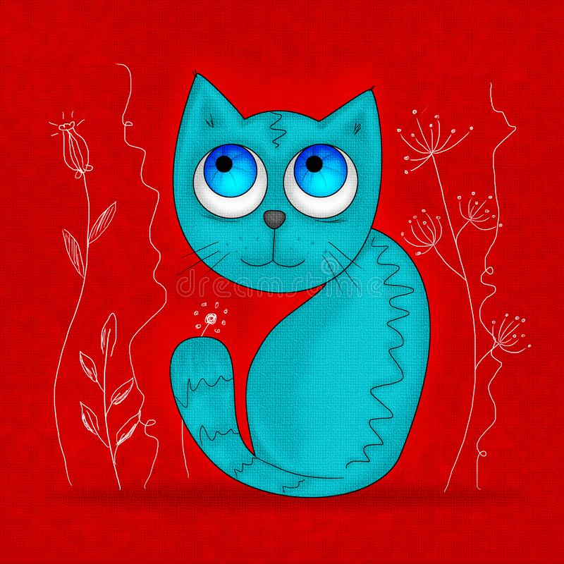 Sheepish little blue cat with big blue eyes stock illustration