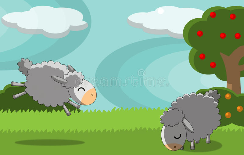 Download Sheeps stock illustration. Image of clouds, bush, happy - 16192758