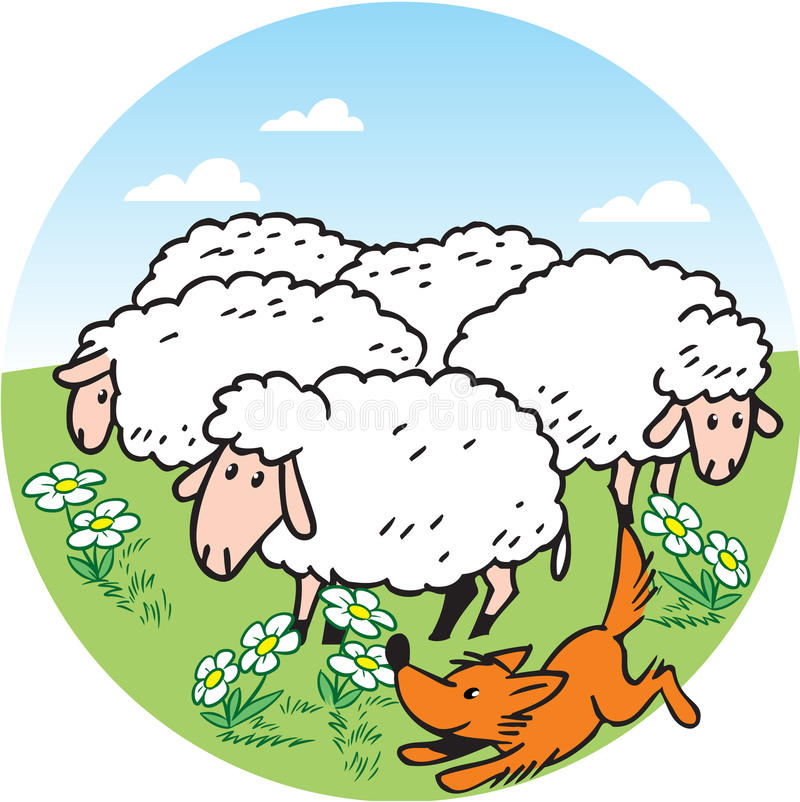 Sheeps. The illustration shows a flock of sheep that graze on a green meadow. Shepherd dog runs near the herd. Illustration done in cartoon style, on separate stock illustration