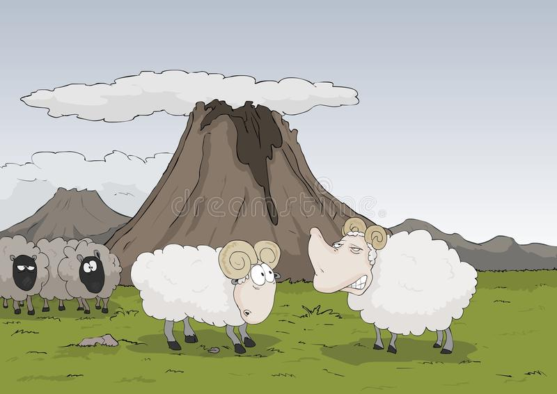 Sheeps In The Mountains Royalty Free Stock Photo